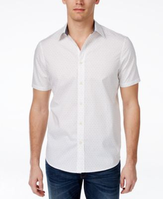 Michael Kors Men's Jace Tailored Pindot Short-Sleeve Shirt