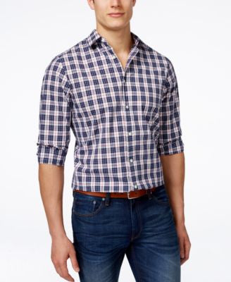 Michael Kors Hampton Tailored Plaid Long-Sleeve Shirt