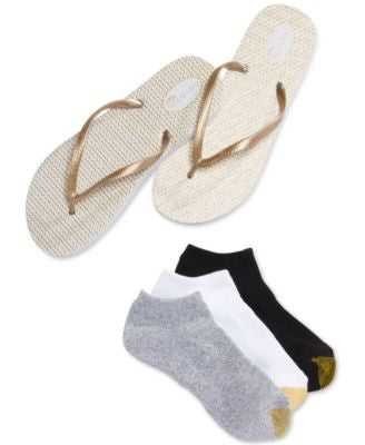 Gold Toe Women's Liner Socks 3 Pack with FREE FLIP FLOP