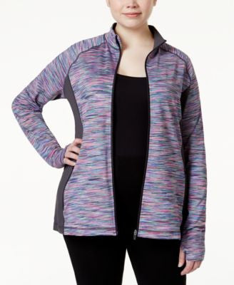 Ideology Plus Size Front-Zip Space-Dyed Active Jacket, Only at Vogily