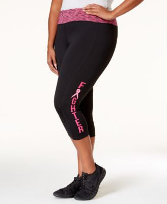 Ideology Plus Size Pink Ribbon Cropped Leggings, Only at Vogily