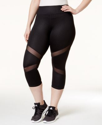 Ideology Plus Size Embossed Mesh-Inset Cropped Leggings, Only at Vogily