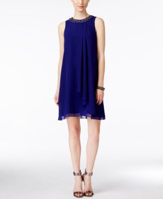 Vince Camuto Sleeveless Embellished Trapeze Dress