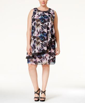 SL Fashions Plus Size Embellished Floral-Print Shift Dress