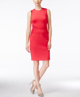 Calvin Klein Mesh-Inset Scuba Sheath Dress