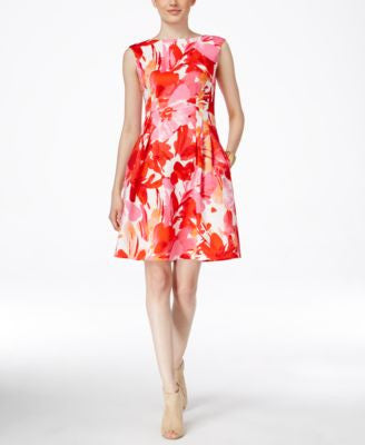 Vince Camuto Floral-Print Boat-Neck Fit & Flare Dress