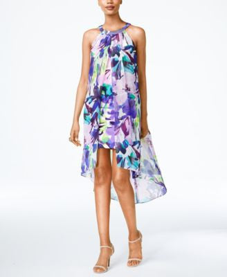 Vince Camuto Printed High-Low Trapeze Dress