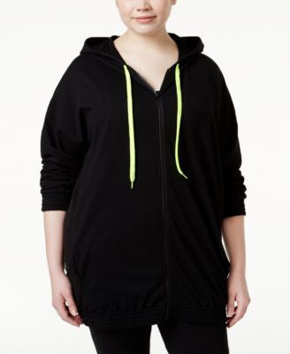 Jessica Simpson The Warm Up Plus Size Mesh-Panel Hoodie