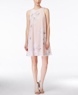Calvin Klein Petite Sleeveless Floral-Print Trapeze Dress
