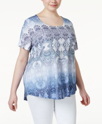 Style & Co. Plus Size Printed Embellished T-Shirt, Only at Vogily