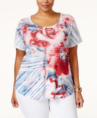 Style & Co. Plus Size Floral-Print Embellished T-Shirt, Only at Vogily