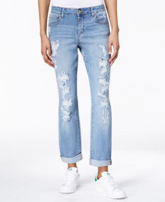 RACHEL Rachel Roy Ripped Brit-It Wash Straight-Leg Jeans