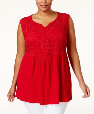 Style & Co. Plus Size Crochet Sleeveless Top, Only at Vogily
