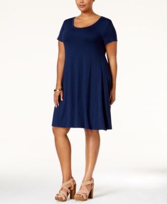 Style & Co. Plus Size Short-Sleeve Swing Dress, Only at Vogily