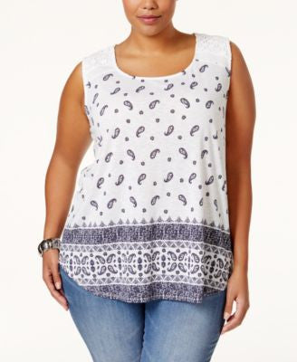 Style & Co. Plus Size Printed Crochet-Trim Sleeveless Top, Only at Vogily