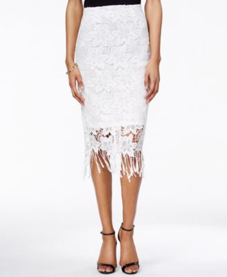 Bar III Lace Fringe-Trim Pencil Skirt, Only at Vogily