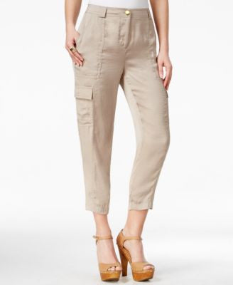 GUESS Serena Satin Mid-Rise Cropped Cargo Pants