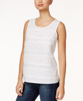Tommy Hilfiger Crochet-Striped Tank Top