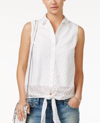 Tommy Hilfiger Tie-Front Eyelet Shirt