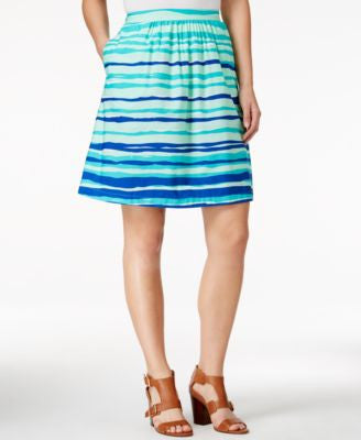 Tommy Hilfiger Striped A-Line Poplin Skirt