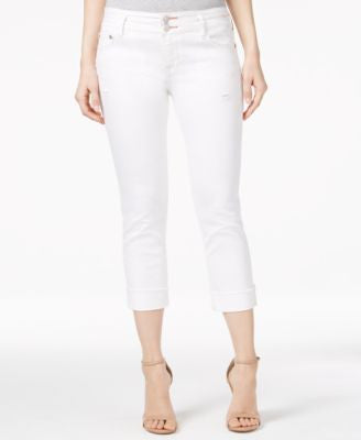 Dittos Cropped White Wash Skinny Jeans