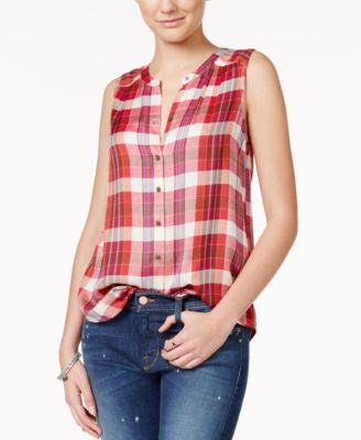 Lucky Brand Sleeveless Plaid Shirt
