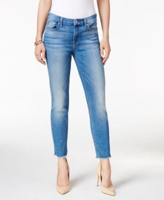 7 For All Mankind Kimmie Cropped Raw-Hem Medium Blue Wash Jeans