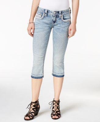 Rock Revival Cropped Raw-Hem Jeans