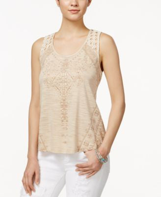 Miss Me Embroidered Fringe-Back Top