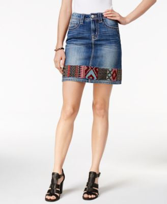 Miss Me Embroidered Denim Pencil Skirt