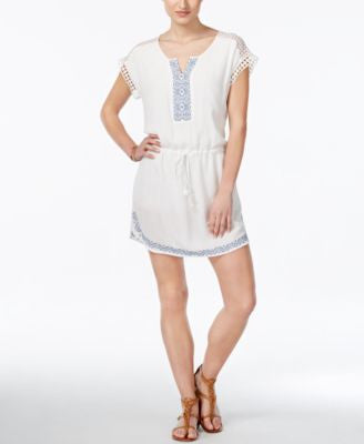 Miss Me Embroidered Short-Sleeve Dress