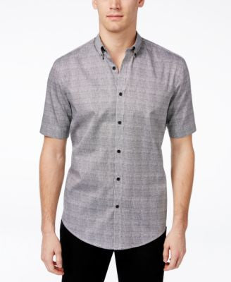 Alfani Men's Big & Tall Grid-Pattern Short-Sleeve Shirt, Only at Vogily