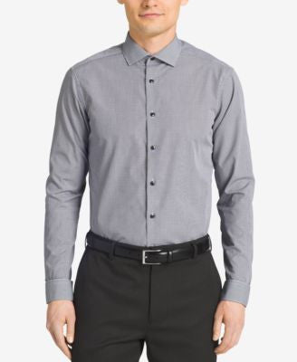 Calvin Klein STEEL Men's Slim-Fit Non-Iron Performance Black Micro-Check Dress Shirt