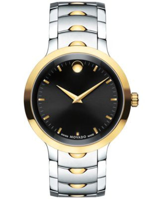 Movado Men's Swiss Luno Two-Tone PVD Stainless Steel Bracelet Watch 40mm 0607043