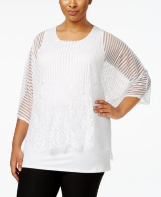 Alfani Plus Size Lacy Mesh Overlay Top, Only at Vogily