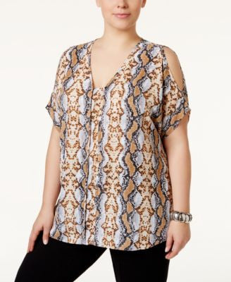 Alfani Plus Size Modern Cold-Shoulder Top, Only at Vogily