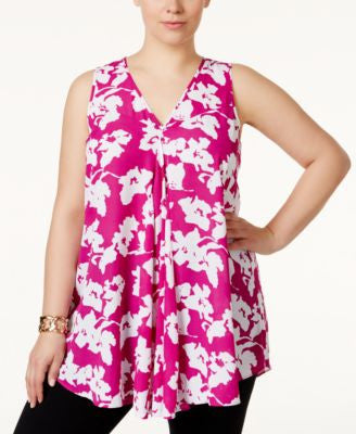 Alfani Plus Size Floral-Print Flyaway Top, Only at Vogily