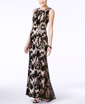Vince Camuto Sequined Floral Lace Gown