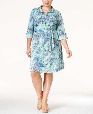NY Collection Plus Size Patchwork-Print Shirtdress