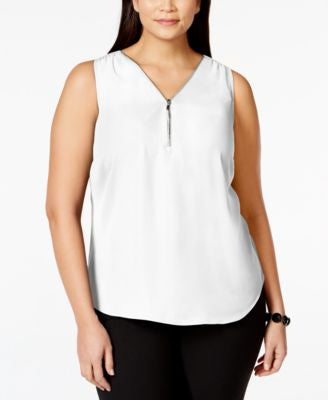 INC International Concepts Plus Size Zip-Neck Shell, Only at Vogily