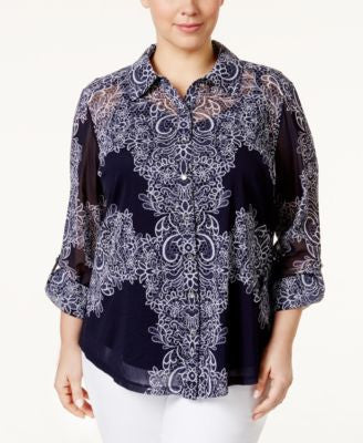INC International Concepts Plus Size Printed Chiffon Shirt, Only at Vogily