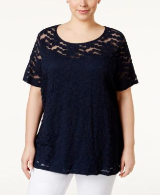 INC International Concepts Plus Size Lace Top, Only at Vogily