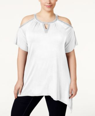 INC International Concepts Plus Size Cold-Shoulder Top, Only at Vogily
