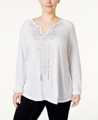 INC International Concepts Plus Size Embellished Peasant Top, Only at Vogily