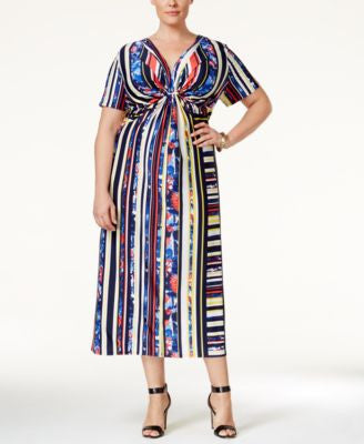NY Collection Plus Size Printed Twist-Front Midi Dress