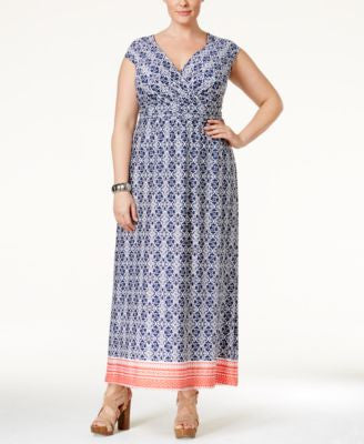 NY Collection Plus Size Printed Surplice Maxi Dress