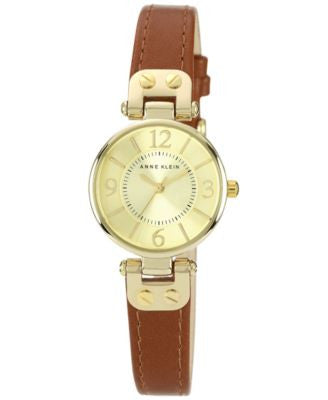 Anne Klein Watch, Women's Brown Leather Strap 10-9442CHHY