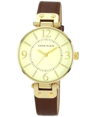 Anne Klein Watch, Women's Brown Leather Strap 10-9168IVBN