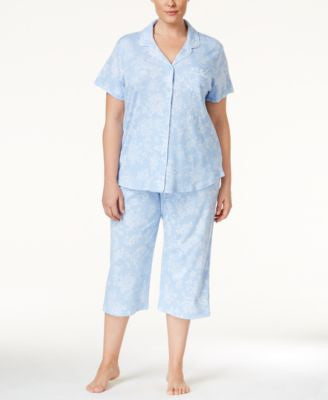 Karen Neuburger Plus Size Cropped Pant Pajama Set