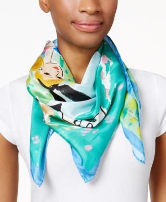 kate spade new york Alice Illustration Silk Square Scarf